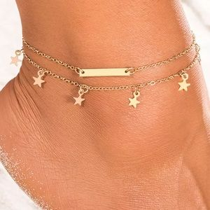 Layered Gold Bar and Star Design Anklet
